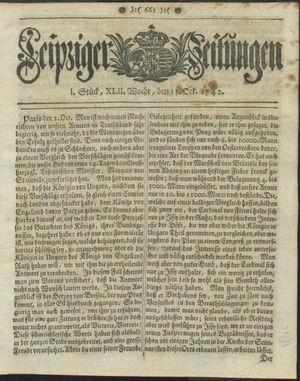 Leipziger Zeitungen vom 15.10.1742