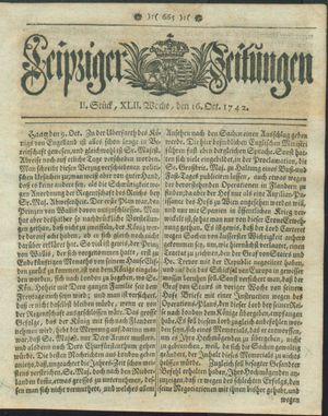 Leipziger Zeitungen vom 16.10.1742