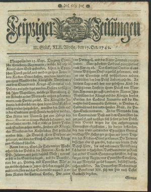 Leipziger Zeitungen vom 17.10.1742