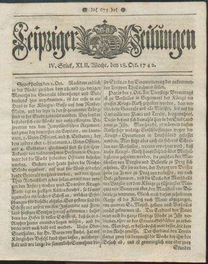 Leipziger Zeitungen vom 18.10.1742