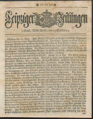 Leipziger Zeitungen vom 22.10.1742