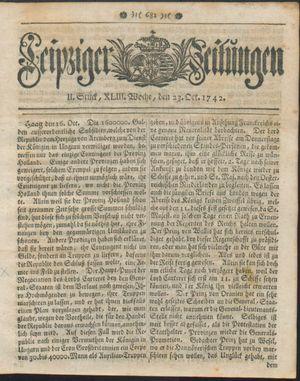 Leipziger Zeitungen vom 23.10.1742
