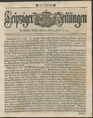Leipziger Zeitungen vom 24.10.1742