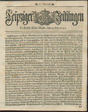 Leipziger Zeitungen vom 25.10.1742