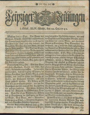 Leipziger Zeitungen vom 29.10.1742