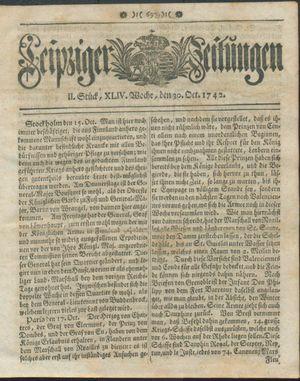 Leipziger Zeitungen vom 30.10.1742