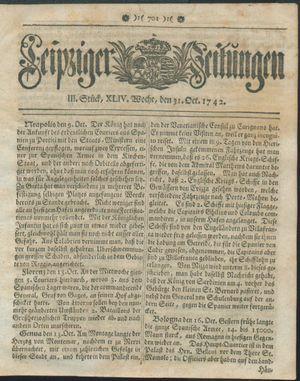 Leipziger Zeitungen vom 31.10.1742