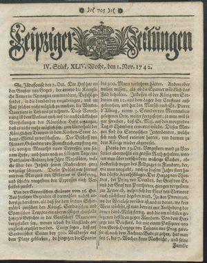 Leipziger Zeitungen vom 01.11.1742
