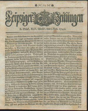 Leipziger Zeitungen vom 06.11.1742