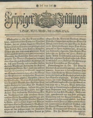 Leipziger Zeitungen vom 12.11.1742
