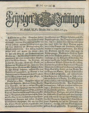 Leipziger Zeitungen vom 15.11.1742