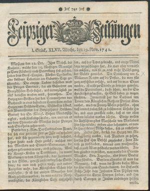 Leipziger Zeitungen vom 19.11.1742