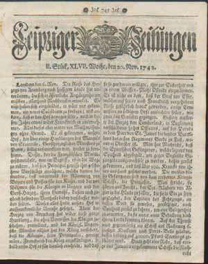 Leipziger Zeitungen vom 20.11.1742