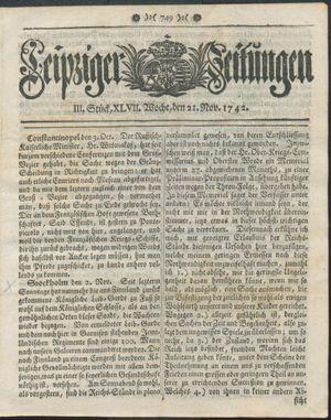Leipziger Zeitungen vom 21.11.1742