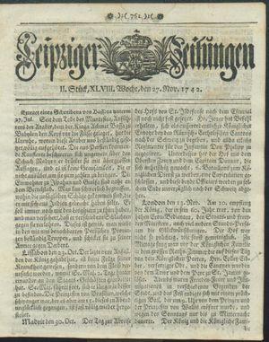 Leipziger Zeitungen vom 27.11.1742