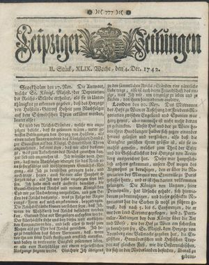 Leipziger Zeitungen vom 04.12.1742