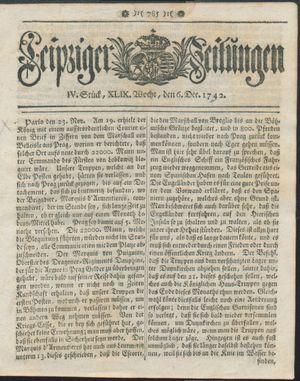 Leipziger Zeitungen vom 06.12.1742