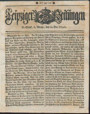 Leipziger Zeitungen vom 12.12.1742