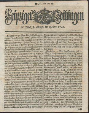 Leipziger Zeitungen vom 13.12.1742