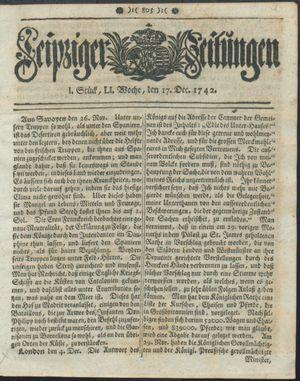 Leipziger Zeitungen vom 17.12.1742