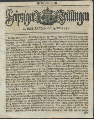 Leipziger Zeitungen vom 19.12.1742