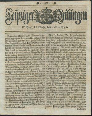 Leipziger Zeitungen vom 20.12.1742