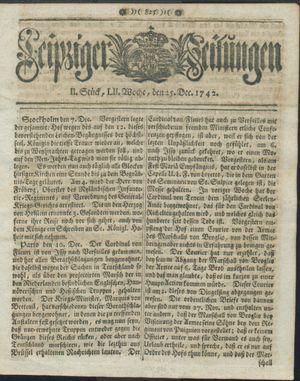 Leipziger Zeitungen vom 25.12.1742