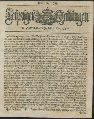 Leipziger Zeitungen vom 27.12.1742