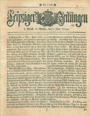 Leipziger Zeitungen vom 06.01.1744