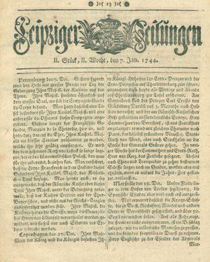 Leipziger Zeitungen vom 07.01.1744