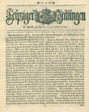 Leipziger Zeitungen vom 09.01.1744
