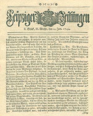Leipziger Zeitungen vom 14.01.1744