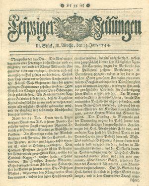 Leipziger Zeitungen vom 15.01.1744