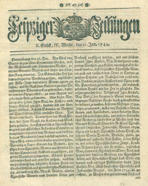 Leipziger Zeitungen vom 21.01.1744