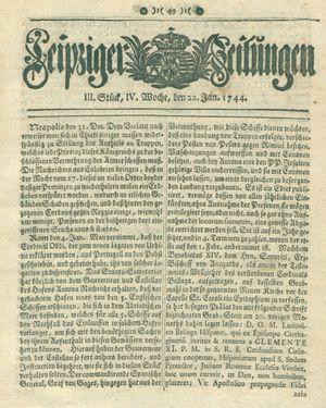Leipziger Zeitungen vom 22.01.1744