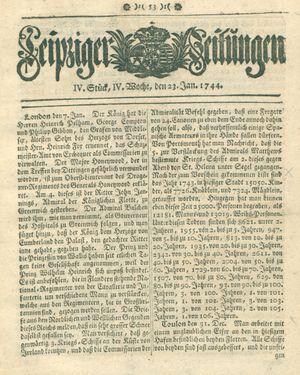 Leipziger Zeitungen vom 23.01.1744