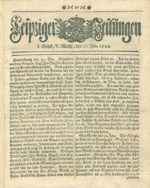 Leipziger Zeitungen vom 27.01.1744