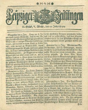 Leipziger Zeitungen vom 29.01.1744