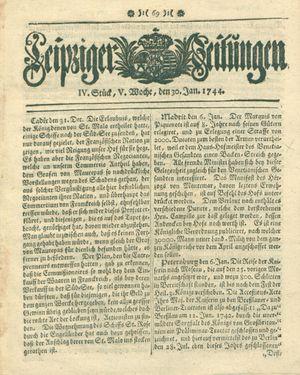 Leipziger Zeitungen vom 30.01.1744