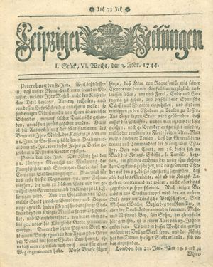 Leipziger Zeitungen vom 03.02.1744