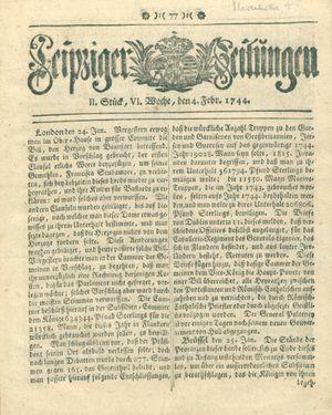 Leipziger Zeitungen vom 04.02.1744
