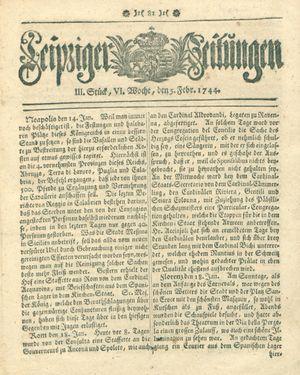 Leipziger Zeitungen vom 05.02.1744