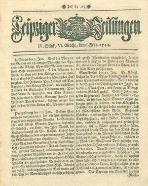 Leipziger Zeitungen vom 06.02.1744