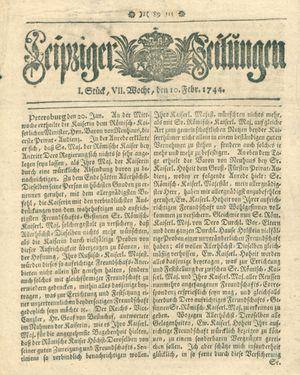 Leipziger Zeitungen vom 10.02.1744