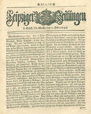 Leipziger Zeitungen vom 11.02.1744