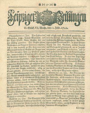 Leipziger Zeitungen vom 12.02.1744