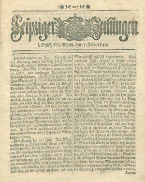 Leipziger Zeitungen vom 17.02.1744
