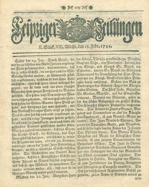 Leipziger Zeitungen vom 18.02.1744