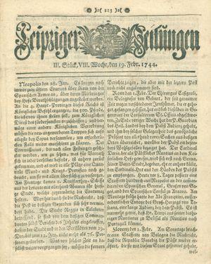 Leipziger Zeitungen vom 19.02.1744