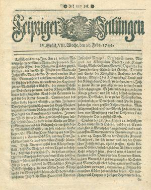 Leipziger Zeitungen vom 20.02.1744